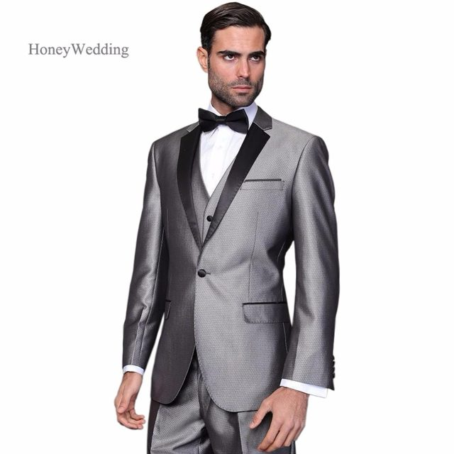 Hot Customized Grey Wedding Tuxedos Black Lapel Jacket Pants Vest Mens Groom Suits Best Men Free Shipping