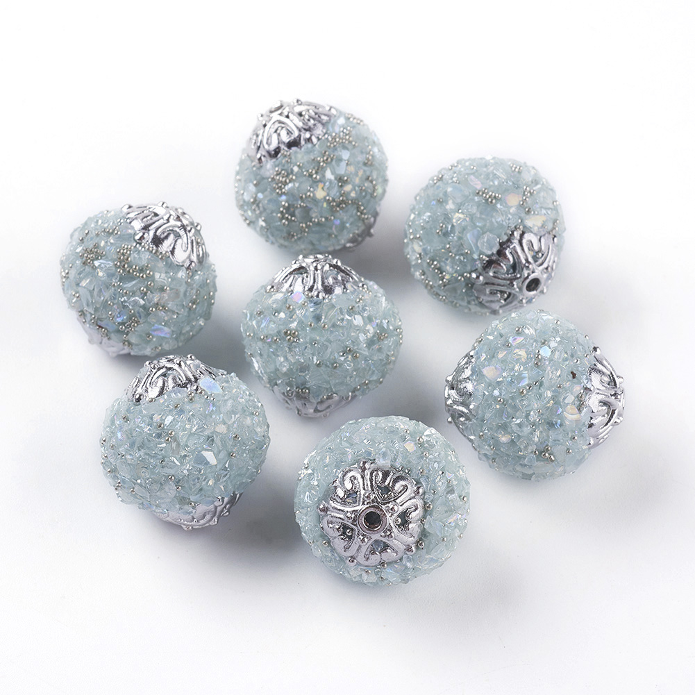 10pcs Round Handmade Indonesia Beads With Metal Findings Antique Silver Color Plated 19.5x18.5~19mm Hole: 1.5mm(China)