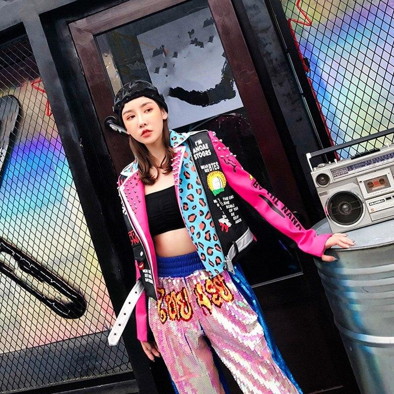 2019 Women High Street Fashion Women Rivets Leopard Pu Jacket Faux   Leather   Motorcycle Jacket Punk Outerwear