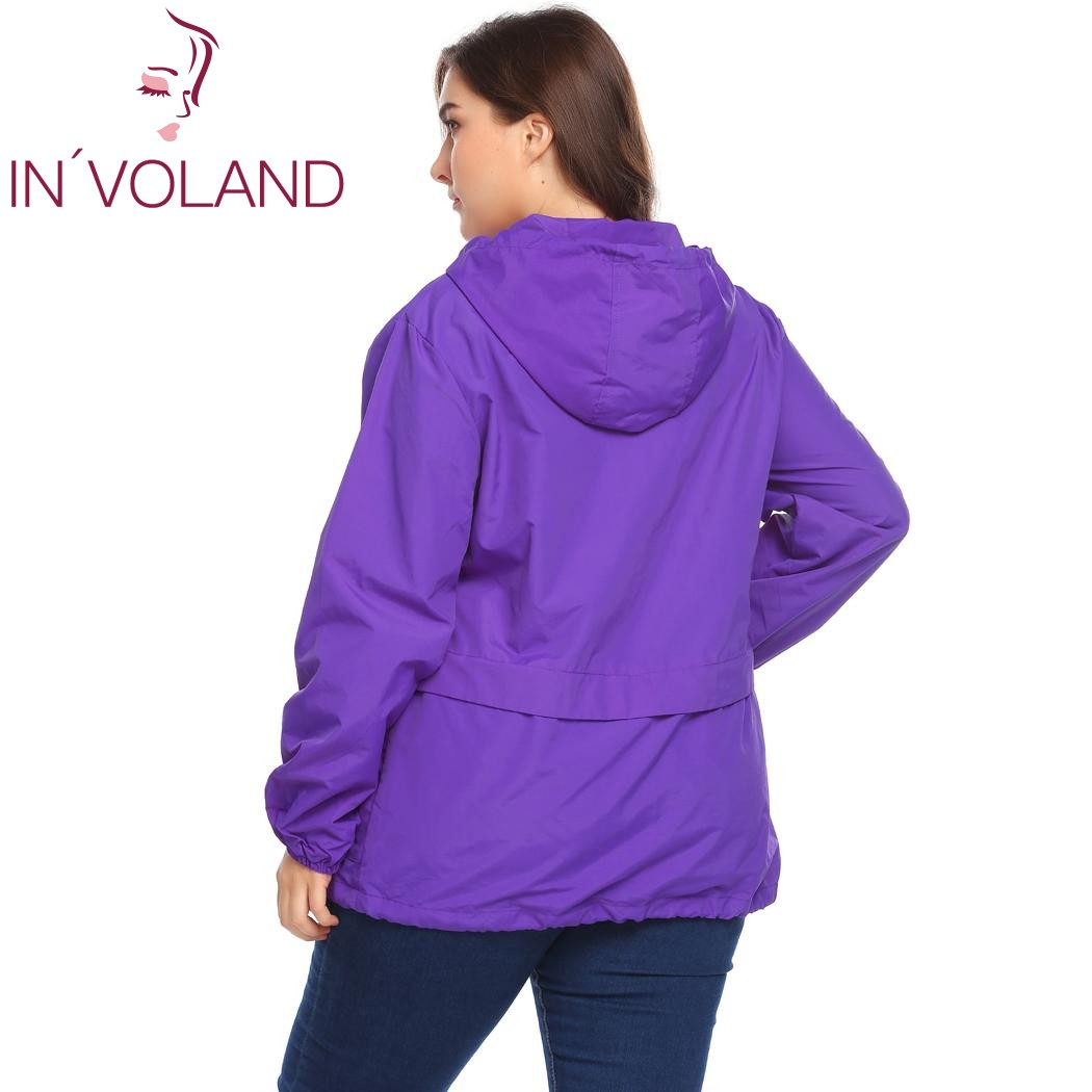 IN'VOLAND Plus Size Women's Jacket Rain Coat Windproof Full Zip Drawstring Solid Hooded Lace-up Large Overcoat Big Size XL-5XL 4