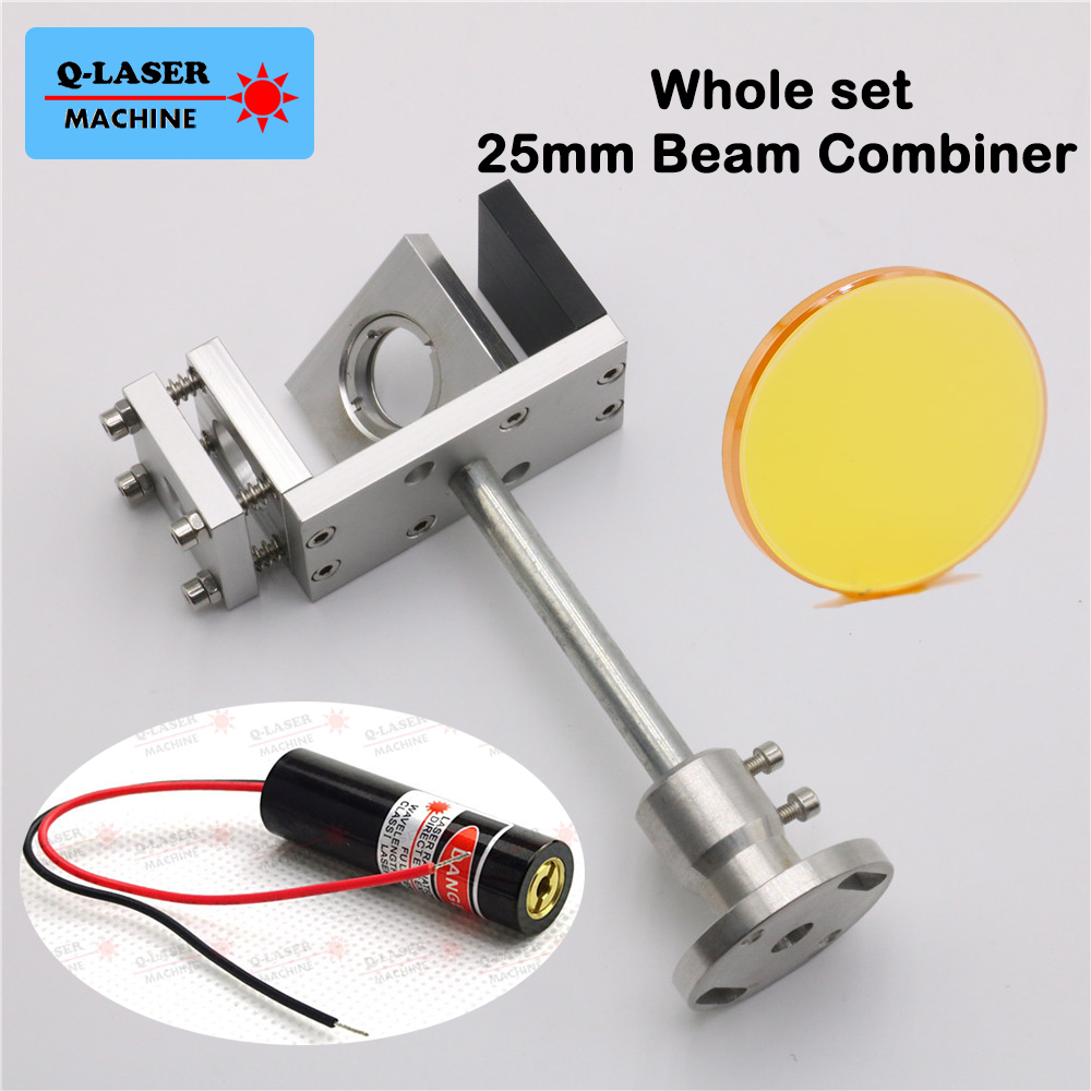 25mm Co2 Laser Beam Combiner 10.6um with Mount and Laser Pointer Free Shipping co2 laser beam combiner support 20mm beam combiner red pointer whole set combiner system