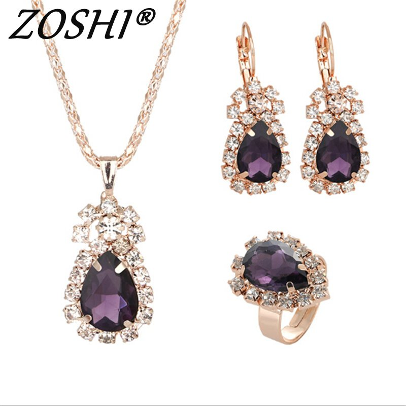 Dress-Accessories Ring-Set Necklace Crystal Bridesmaid Gold New Long Women