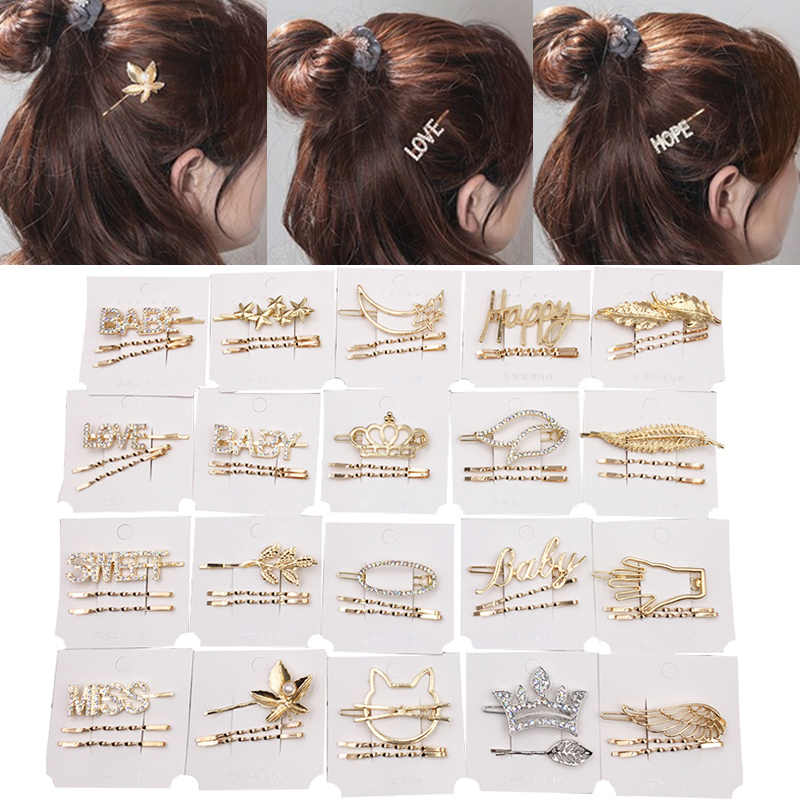 Zircon Beautiful Hand INS Style Leaf Golden Letters 2PCS/3PCS/Set Heart Simple Wing  Crown Hair Clips Silver Crystal Scissor