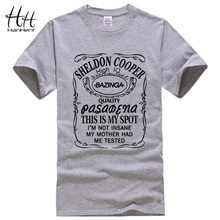 Новинка от HanHent, Теория большого взрыва, футболка с принтом Шелдона Купера базинги, Мужская хлопковая футболка для мужчин, мужские топы, футболки, Прямая поставка