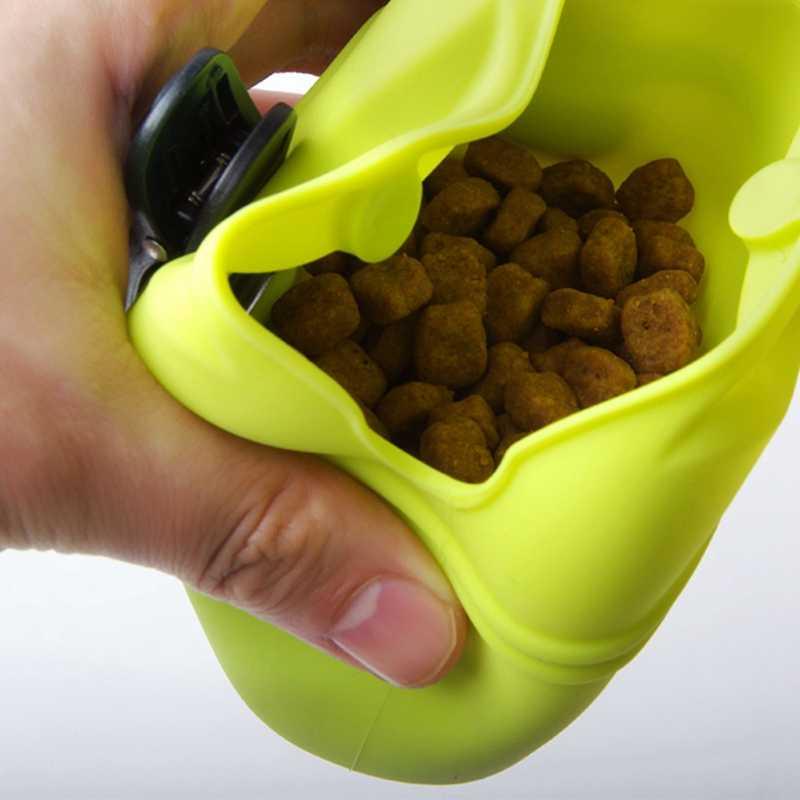 Silicone Dog Treat Tasca del Sacchetto di Cibo Snack Bag Bisaccia Sacchetto Della Vita Per Esterno Addestramento di Animali Domestici Appeso Alla Cintura Automaticamente chiusa