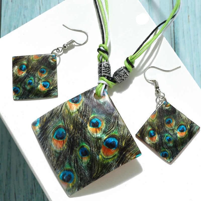 Zoshi Bohemian Enamel Cowrie Conch Shell Liontin Kalung Set untuk Wanita Fashion Ocean Laut Pantai Perhiasan BoHo Shell Perhiasan Set