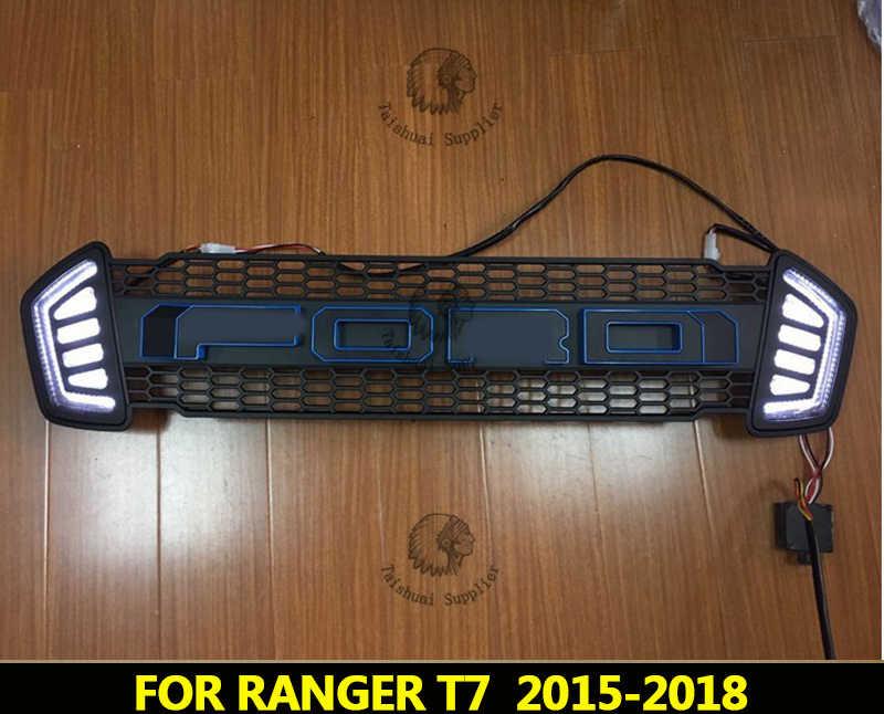 Rejillas de parrilla de carreras con máscara de parachoques frontal LED apta para RANGER T7 GRILL 2015-2017 PICKUP AUTO Accesorios