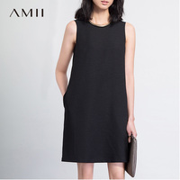 Amii 2017 Summer Women Loose Sleeveless Chiffon A Line Knee Length Dress