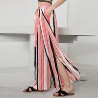 FREE SHIPPING The new vertical stripes wide legged pants female trousers loose open fork chiffon belt slacks IN STOCK