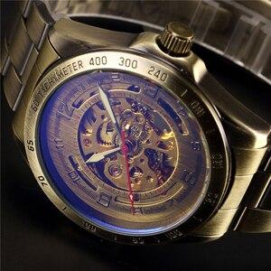 Image 4 - W starym stylu automatyczny mechaniczny zegarek szkielet Vintage mosiądz stalowy zegarek męski szkielet Steampunk zegar mężczyzna niebieska tarcza