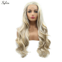 Sylvia Natural Handmade Hairline Long 2 Color Blonde Highlight Brown Synthetic Lace Front Wigs For Women Long Hair Body Wave Wig