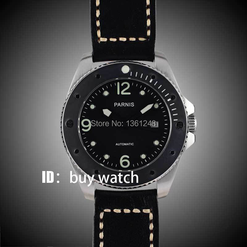 все цены на 43mm Parnis black dial luminous marks sapphire glass miyota Automatic mens Watch 10ATM black bezel 151 онлайн