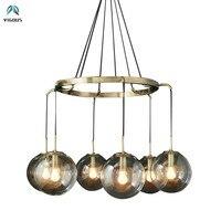 Retro Glass Globe Shades Luminaria RH Led Chandelier Loft Gold/matte Black Metal Round Pendant Chandelier Lighting Fixtures