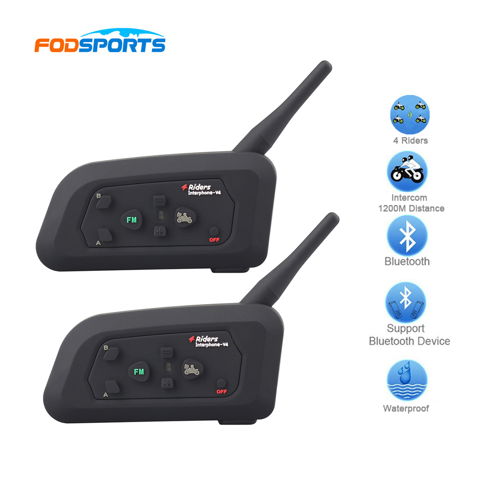Fodsports 2*V4 BT Intercom Moto Bluetooth Interphone Motorcycle Closed Helmet Headphone 4 Riders Talking 1200M Range FM 2pcs bt s2 intercom 1000m motorcycle helmet bluetooth wireless waterproof headset intercom earphone 2 riders interphone fm radio