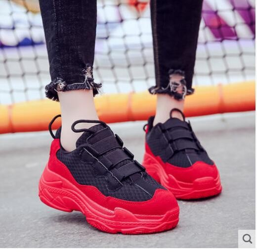 forme Intérieur rouge Ulzzang De Flamme Noir Coréenne Version Plate Épais Harajuku Chaussures Guixianglai Femmes Papa Surélévation BWqH5Cx7w