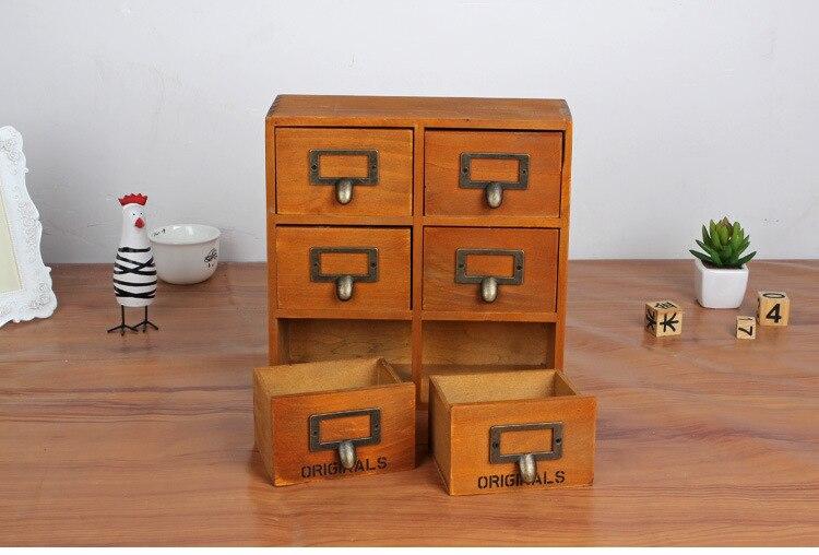 1 PC Zakka 6 tiroir boîte de rangement epicerie vintage en bois finition armoire organiseur de bureau JL 0948
