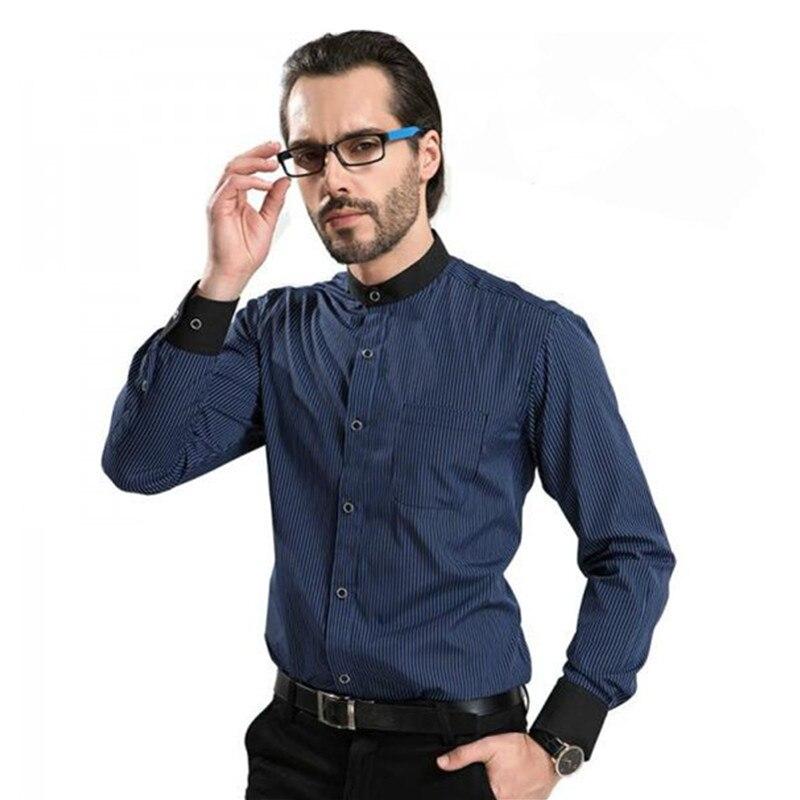 Chinese shirt Casual striped shirt men Mandarin Collar Shirts Slim fit Classic Long Sleeve luxury Brand Business Dress Shirts