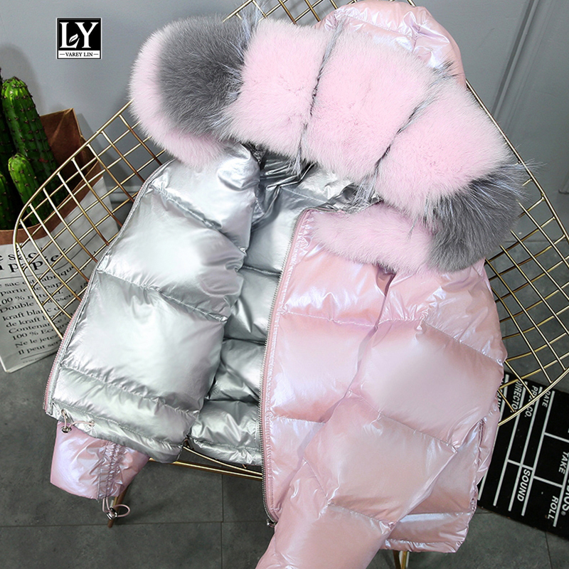 Ly Varey Lin Real Fur Coat Natural Fox Fur Collar Winter Jacket Women 90% White Duck Down Double Sided Hooded Waterproof Parkas