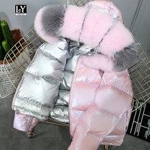 Ly Varey Lin Real Fur Coat Natural Fox Fur Collar Winter Jacket Women 90% White