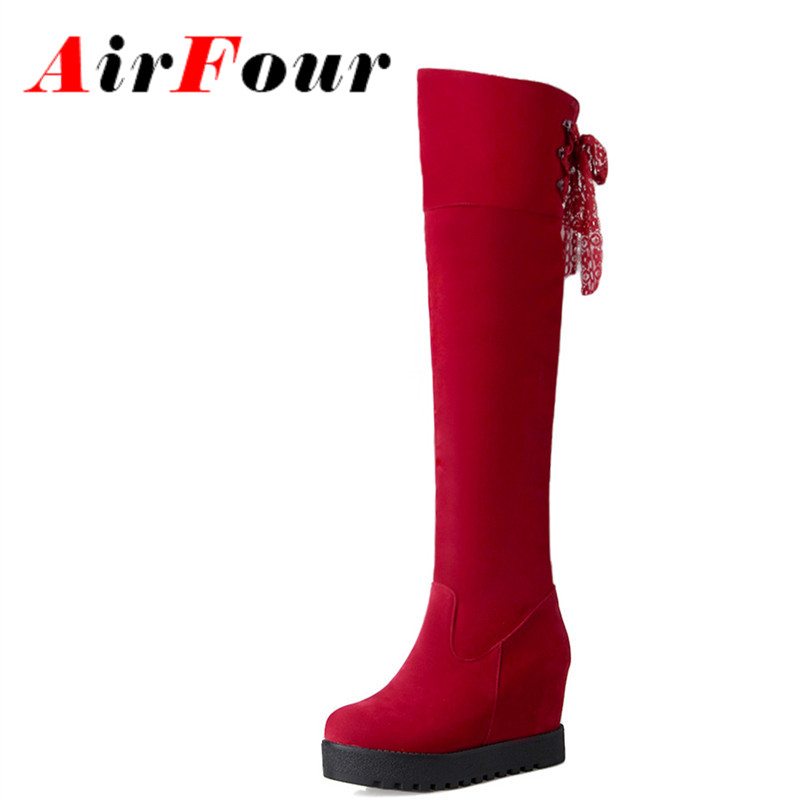 ФОТО Airfour Lace Charms Winter Knee High Boots Women High Heels Slip-on Wedges Boots Platform Shoes Women Large Size 34-43 Black Red