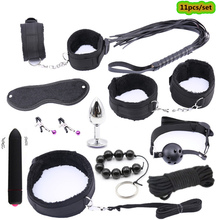 11pc/set sm Sex Products Bdsm Sex Bondage Restraints Nylon Plush BDSM Collar Whip Handcuffs Anal Plug Erotic Sex Toys for Adults недорого
