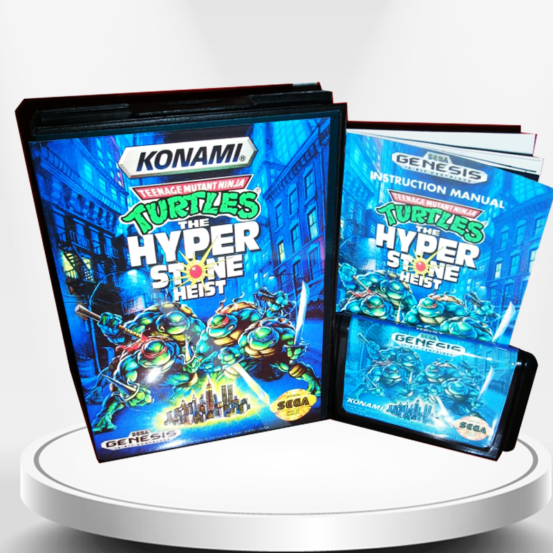Teenage Mutant Ninja Turtles the Hyper Stone Heis with Box and Manual for MD MegaDrive Genesis Video Game Console 16 bit MD card