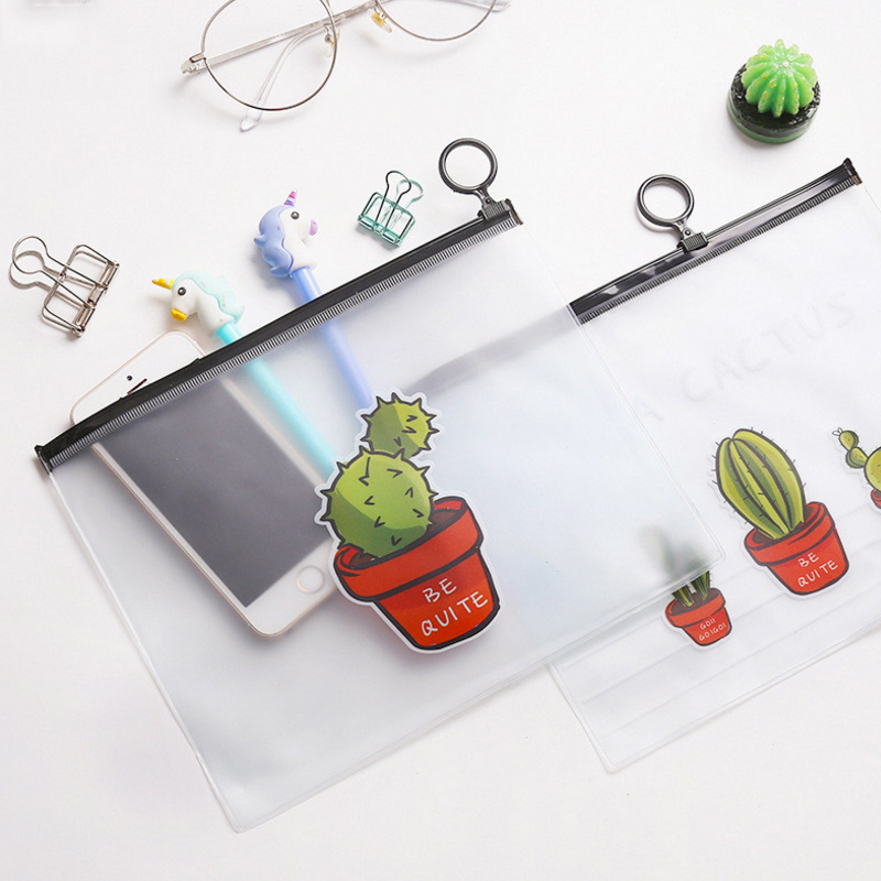 1 Pcs/lot Lovely Cartoon Cactus Translucent A5 File Bag Document Bag   Stationery Office School Supplies