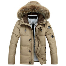 4 Colors Casual Mens Long Sleeve Warm Duck Down Jacket Fashion Mens Solid Color Loose Type Thick Down Jacket Coat 2017 Winter