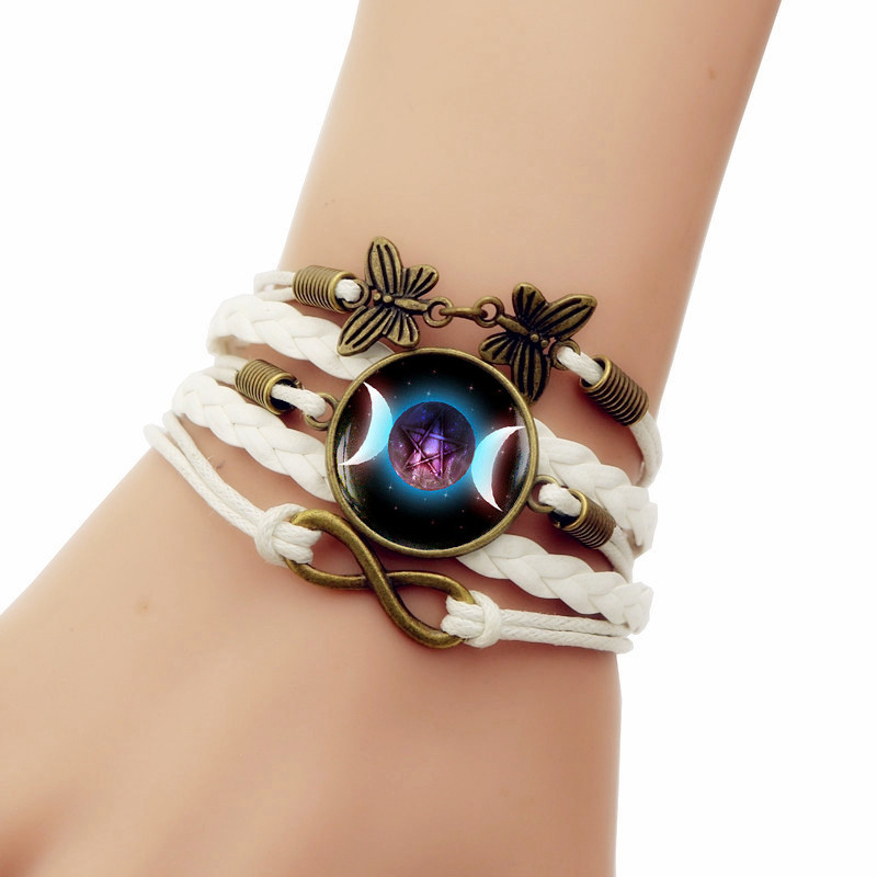 Multilayer Handmade Leathers Braided Bracelet Triple Moon Goddess Girls Braided Wristband Bracelet Female Fashion Accessories
