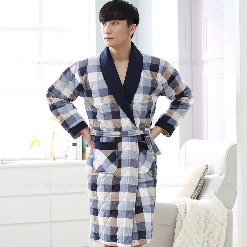 bae2ed9389 Brand New Winter Men s Nightgowns Warm Check Robes Men Bath Robe Quilted  Bedroom Robe Spa Shower Bathrobe Plus Size 3XL Lounge-in Robes from  Underwear ...