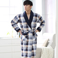 Brand New Winter Men's Nightgowns Warm Check Robes Men Bath Robe Quilted Bedroom Robe Spa Shower Bathrobe Plus Size 3XL Lounge