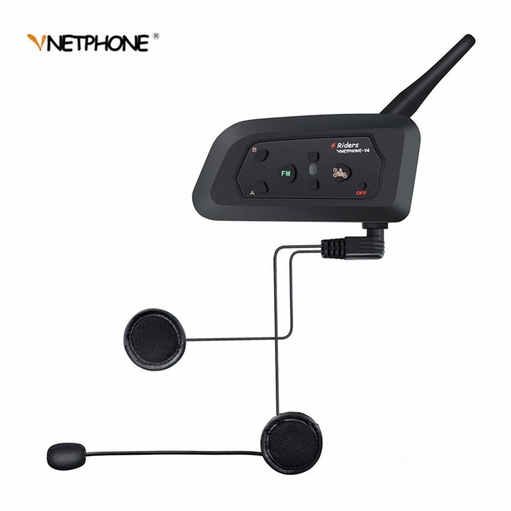 VNETPHONE V4 Moto Accessoires Bluetooth Casque Interphone Casque pour 4 Coureurs Étanche Soutien Smartphone FM Radio