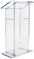 Clear Acrylic Lectern, Presentation Podium with Internal Shelf, 47 inches Tall