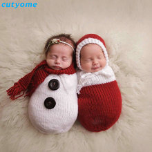 2pcs/set Newborn Photography Props Crochet Knitting Costume Christmas Snowman Hat+Sleeping Bag Photo Wrap Matching Accessories