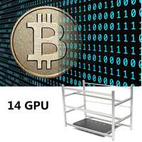 Open Air Mining Rig Stackable Frame Case 10 LED Fans For 14 GPU ETH BTC Ethereum