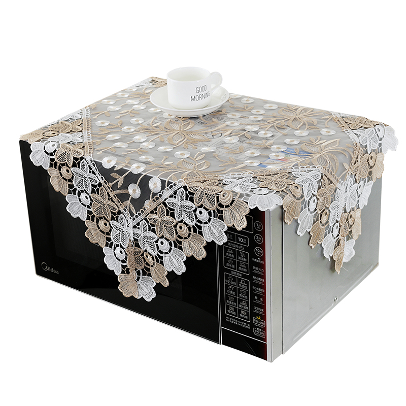 [WIT]85x85cm European Table Cloth Square Transparent Pastoral Embroidered Table  Cloth Lace Tablecloths Dust