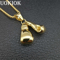 Hip Hop Golden Boxing Gloves Pendant Necklace Men/Women Gold Color Stainless Steel Chain Fitness Necklaces Sports Jewelry