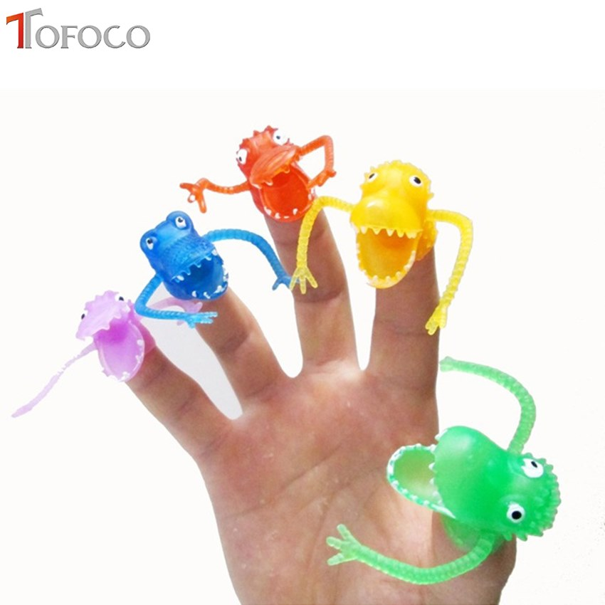 TOFOCO 10Pcs Puppets Toys Finger Puppet Story Mini Dinosaur Toys With Small Finger Gashapon Toys Novelty Animal Dolls