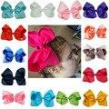 8 pulgadas Grande Boutique de la Cinta Del Grosgrain Sólido Arco de Pelo Pinzas de Pelo de Headwear Hairgrips Barrette Del Bowknot Para Las Mujeres Niñas Accesorios