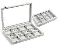High Grade 12 Grid Bijou Organizer Display Holder Box Rings Earrings Ear Studs Jewelry Storage Showcase