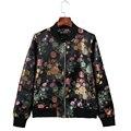 Outono de 2016 gola flores jacquard mulheres jaqueta bomber casacos básicos impresso jaqueta de beisebol casual Zipper jaquetas femininas