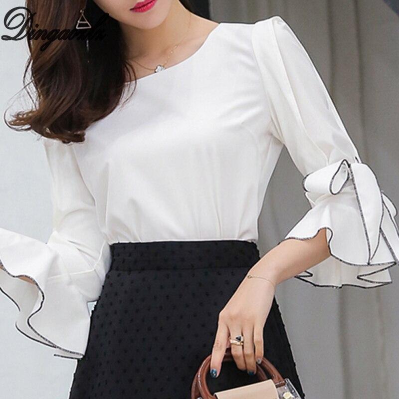 059998ead63f Dingaozlz moda colmena costura Blusa de gasa elegante mujer OL camisa 2018  nuevo coreano arco ...