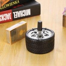 Креативная резиновая автомобильная пепельница в виде шины пресс роторный портативный пепельница Металлическая Пепельница пепельницы с функцией вращения