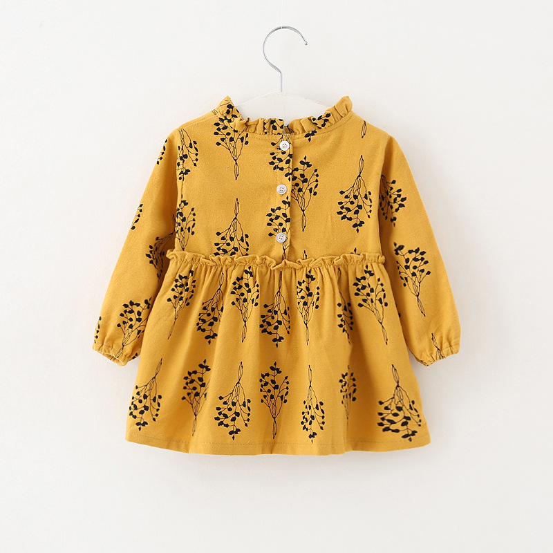 Kids Clothing Full Sleeve Baby Dress birthday 1 year 2018 Spring Cotton Vintage Print dress Baby Girl Clothes Yellow Gray