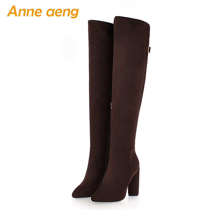 New Winter Women Over-The-Knee Boots High Heels Pointed Toe Zipper Sexy Ladies Women Shoes Black Snow Thigh High Boots Big Size meotina women boots high heels thigh high boots winter sexy over knee boots ladies autumn shoes black white shoes big size 10 43