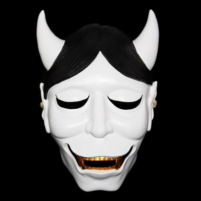 white full horror mask halloween dance party scary mask cosplay movie game theme costume horror mask