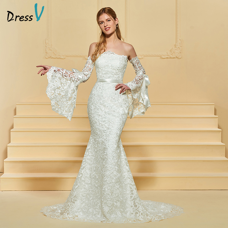 Mermaid Lace Wedding Gown: Dressv Ivory Wedding Dress Strapless Long Sleeves Chapel