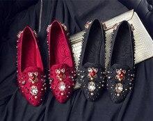 Women retro diamonds flat shoes 2019 spring rivets slip on loafers EU35-41 size BY593