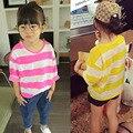 Vestuário crianças jaqueta edição han T-shirt pequeno vestuário superior sem forro da nova primavera 2017 listras coringa F012 HH