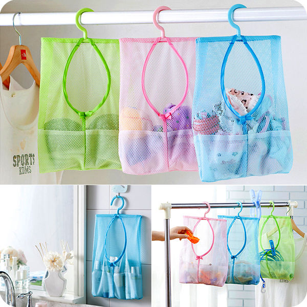 Wall Hanging Storage Clothes Mesh Bag Case Bathroom Organizer Laundry Hook  Pink Household Bathroom Accessories Hanging Tools